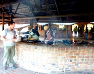 Meals are served at the grill of Antelope Park in Zimbabwe
